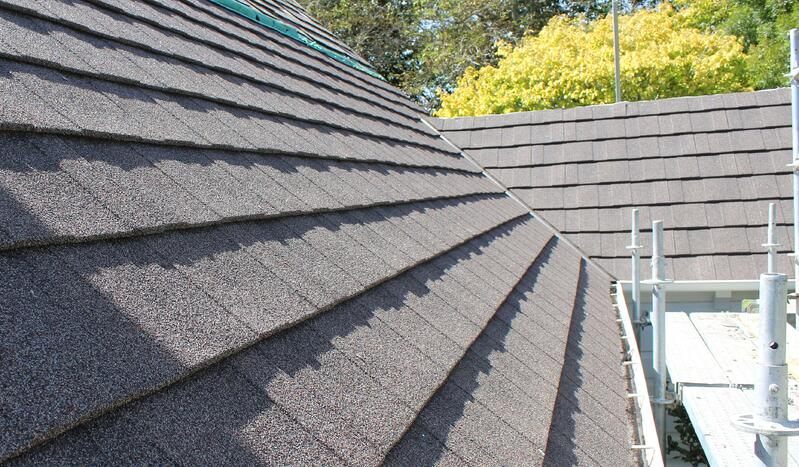 Metrotile's shingle textured finish tiles on the church roof