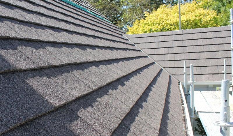 Metrotile's shingle textured finish tiles on the church roof