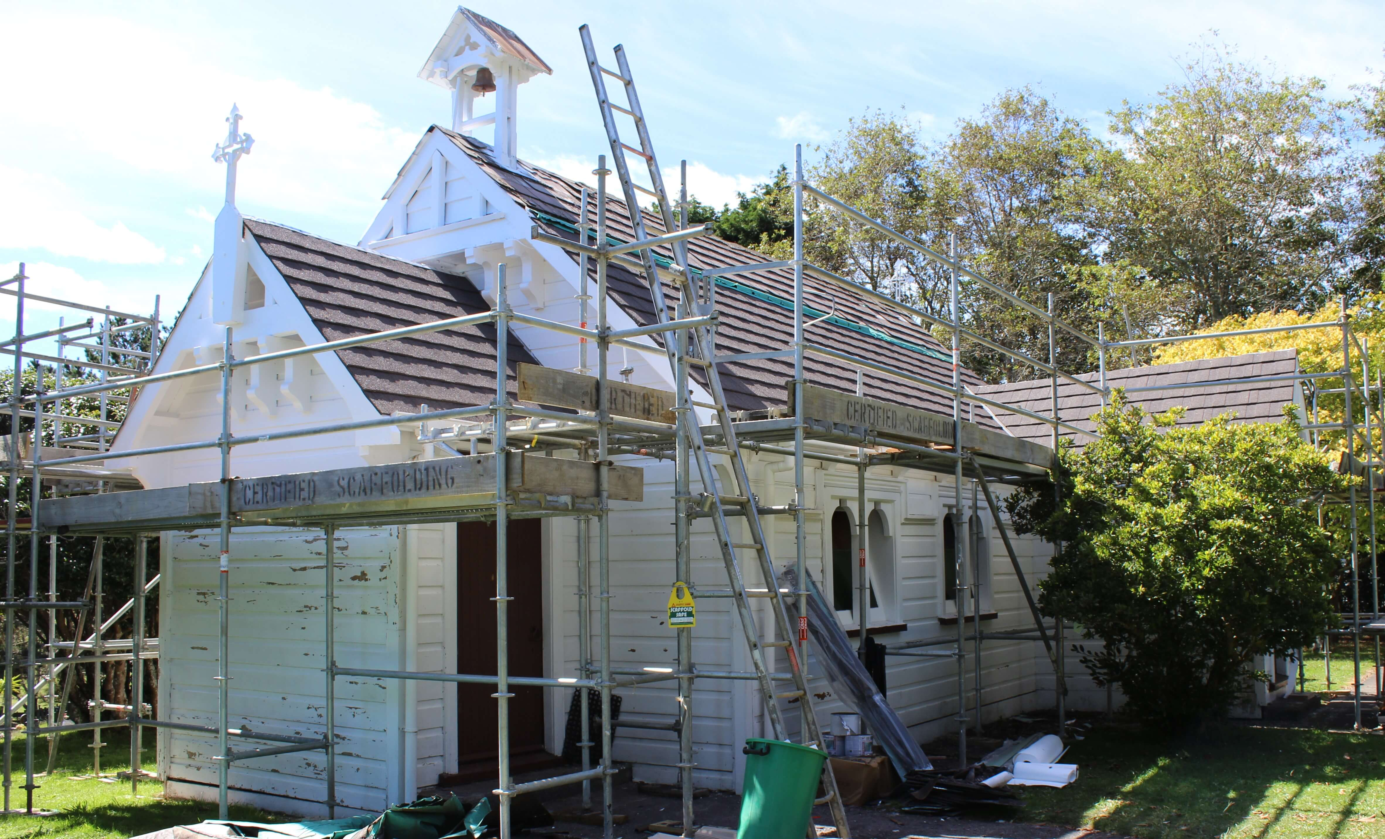 St James' church fully scaffolded before re-roofing