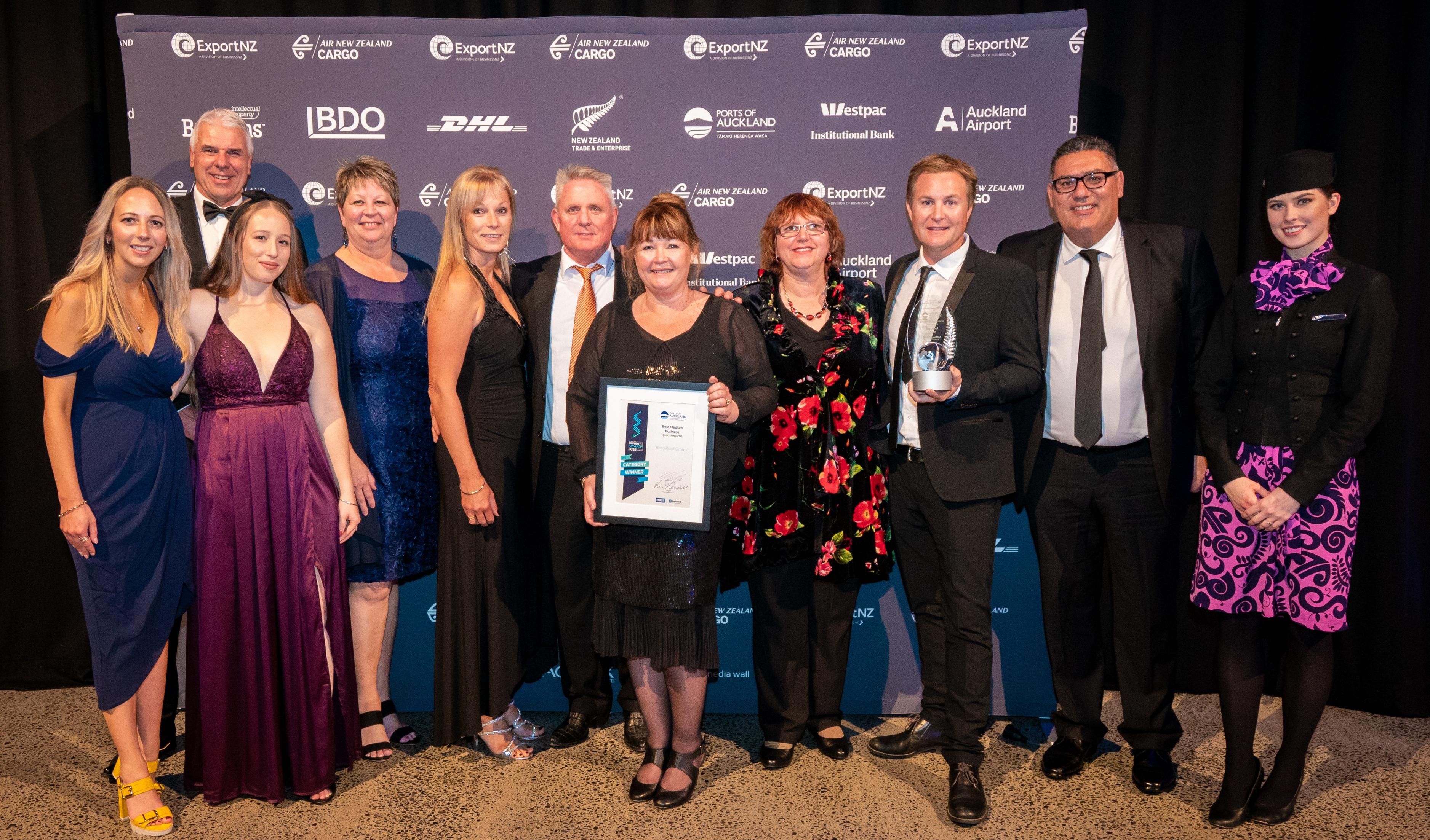 Best medium business (goods exports) winner - Ross Roof Group